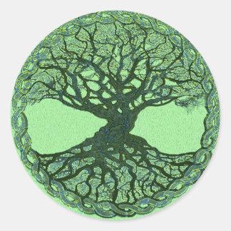 Pegatina Redonda Árbol de la vida verde afortunado