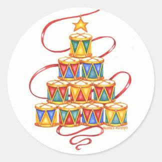 Pegatina Redonda Árbol de los pegatinas del navidad de los tambores