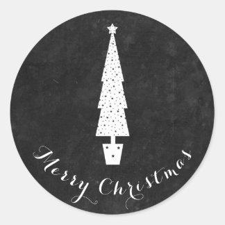 Pegatina Redonda Árbol de navidad de la pizarra/Felices Navidad