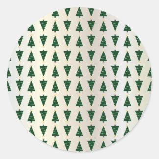 Pegatina Redonda Árboles de navidad brillantes del diseño moderno