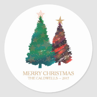 Pegatina Redonda Árboles de navidad brillantes pintados a mano de