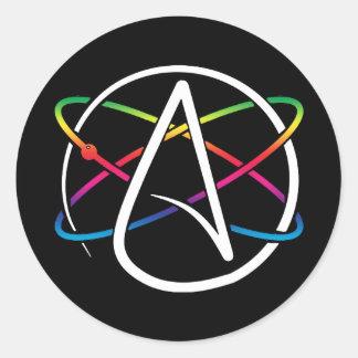 Pegatina Redonda Arco iris ateo del átomo