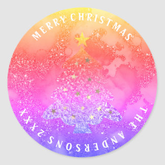 Pegatina Redonda Arco iris azul Ombre del feliz purpurina del árbol