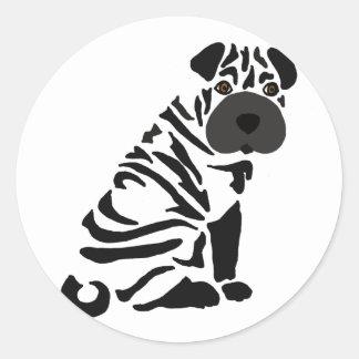 Pegatina Redonda Arte abstracto del perro negro divertido de Shar