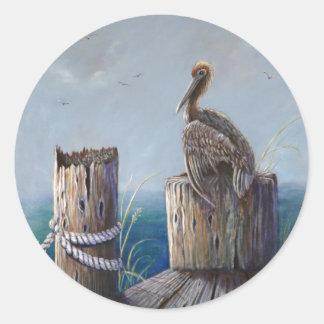 Pegatina Redonda Arte de acrílico del océano del pelícano de Brown