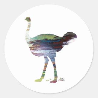 Pegatina Redonda Arte de la avestruz
