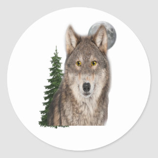 Pegatina Redonda arte del lobo