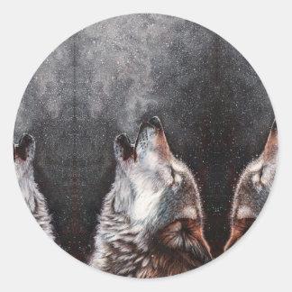 Pegatina Redonda Arte del lobo - lobo del grito - pintura del lobo