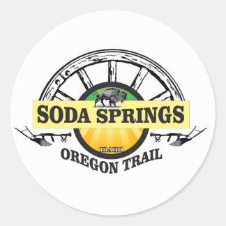 Pegatina Redonda arte del rastro de Soda Springs Oregon