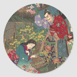 Pegatina Redonda Arte hermoso japonés del samurai del geisha