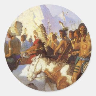 Pegatina Redonda Arte occidental del vintage, fiesta indio de la