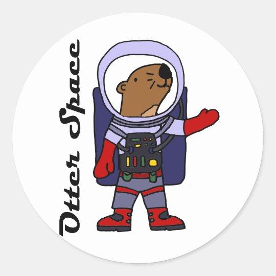 Pegatina Redonda Astronauta divertido de la nutria de mar en dibujo ...