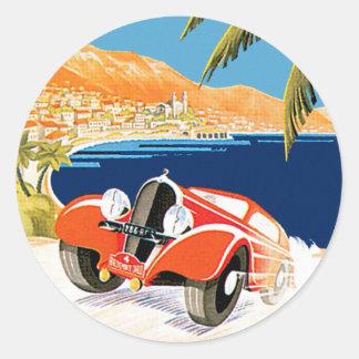 Pegatina Redonda Automóvil de Monte Carlo de Rallye
