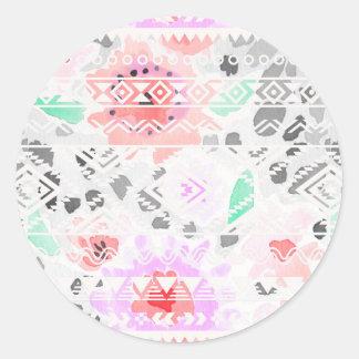 Pegatina Redonda Azteca floral en colores pastel colorido lindo