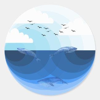 Pegatina Redonda Azules de la naturaleza - ballenas