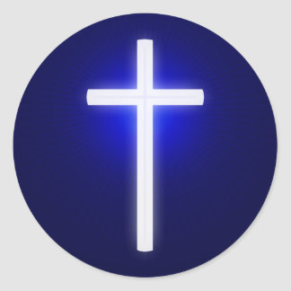 Pegatina Redonda Azules marinos el | cristianos cruzados que