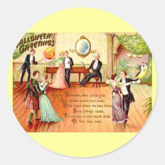 Pegatina Redonda Baile de los saludos de Halloween del vintage