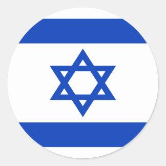 Pegatina Redonda ¡Bajo costo! Bandera de Israel