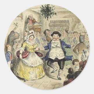 Pegatina Redonda Ball de Sr. Fezziwig, un villancico del navidad