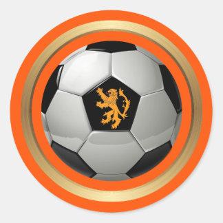Pegatina Redonda Balón de fútbol holandés, león holandés en el