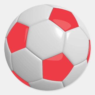 Pegatina Redonda Balón de fútbol rojo y blanco del deporte