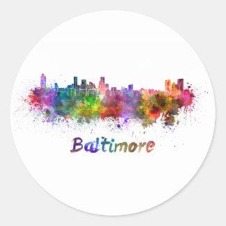 Pegatina Redonda Baltimore skyline in watercolor