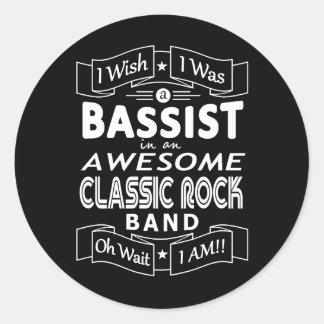 Pegatina Redonda Banda de rock clásica impresionante del BAJISTA