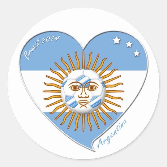 Pegatina Redonda Bandera de ARGENTINA FÚTBOL nacional sol de mayo