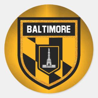 Pegatina Redonda Bandera de Baltimore