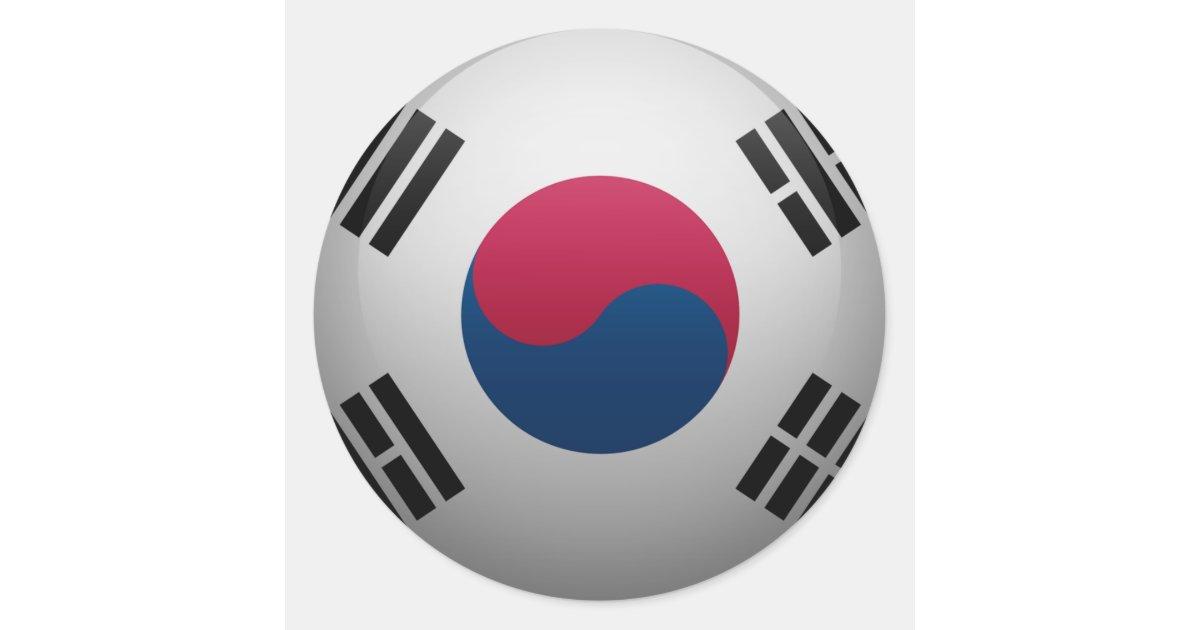Pegatina Redonda Bandera De Corea Del Sur
