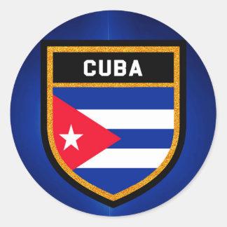 Pegatina Redonda Bandera de Cuba