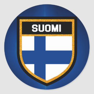Pegatina Redonda Bandera de Finlandia