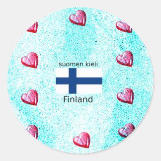 Pegatina Redonda Bandera de Finlandia y diseño finlandés de la