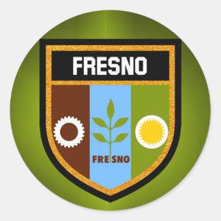 Pegatina Redonda Bandera de Fresno