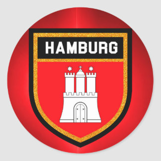 Pegatina Redonda Bandera de Hamburgo
