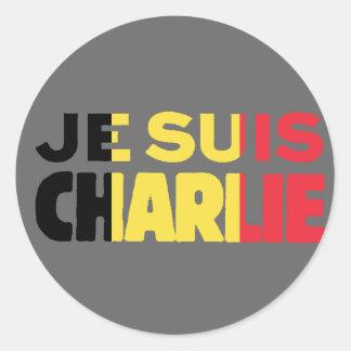 Pegatina Redonda Bandera de Je Suis Charlie-Yo Charlie-Bélgica en