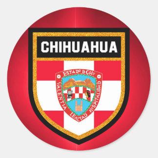 Pegatina Redonda Bandera de la chihuahua