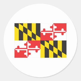 Pegatina Redonda Bandera de Maryland