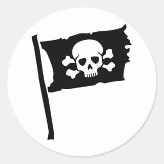 Pegatina Redonda Bandera de pirata