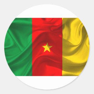 Pegatina Redonda Bandera del Camerún