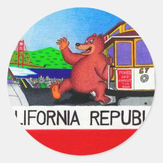 Pegatina Redonda Bandera del oso de San Francisco California