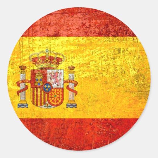 Pegatina Redonda Bandera España Bandeira de España del Grunge 2012 ... e59e2240c1a