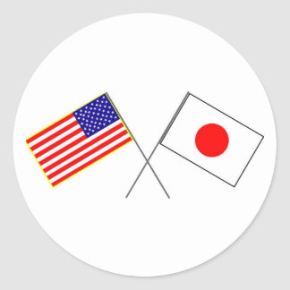 Pegatina Redonda Banderas de los E.E.U.U. JAPÓN