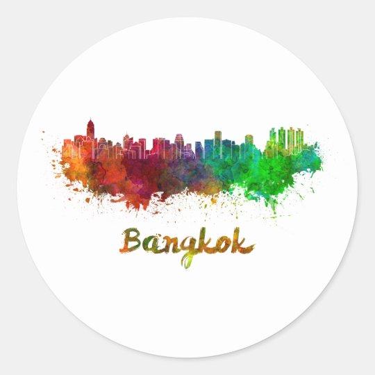 Pegatina Redonda Bangkok skyline in watercolor