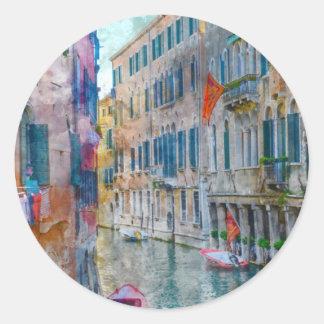 Pegatina Redonda Barcos de Venecia Italia en el Gran Canal