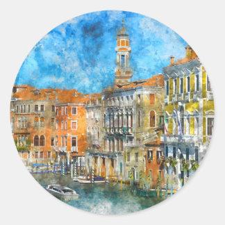 Pegatina Redonda Barcos en el Gran Canal de Venecia Italia