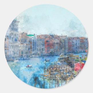 Pegatina Redonda Barcos en el Gran Canal en Venecia Italia