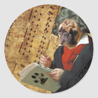Pegatina Redonda Barkthoven - el barro amasado de Beethoven