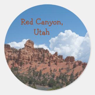 Pegatina Redonda Barranco rojo, recuerdo de la plantilla de Utah