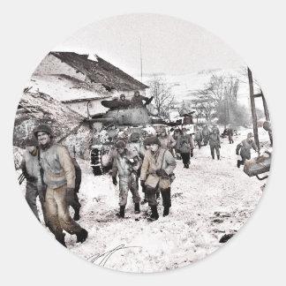 Pegatina Redonda Batalla de la tropa del bombeo renovada